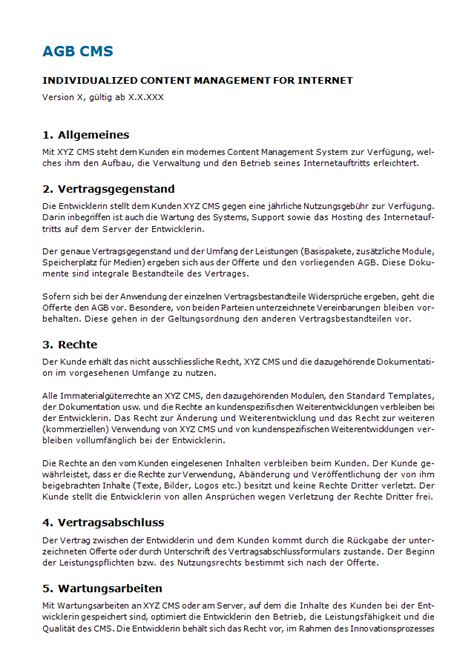 AGB Content Management System: Muster zum Download