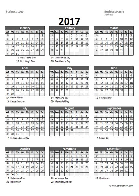 2017 Excel Yearly Business Calendar - Free Printable Templates