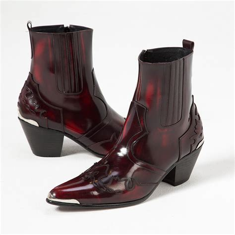 Shoes - Grunge wine western leather high heel boots - 400
