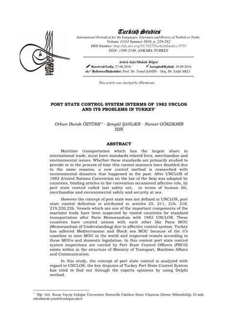 (PDF) Port State Control System Interms Of 1982 Unclos And