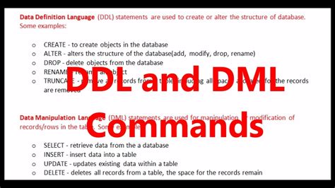 ddl and dml commnds in sql - YouTube