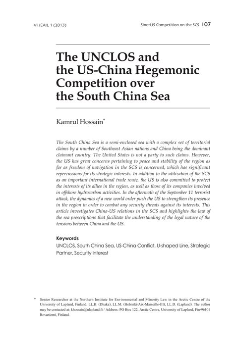 (PDF) The UNCLOS and the US-China hegemonic competition